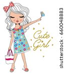 cute girl fashion girl romantic ... | Shutterstock .eps vector #660048883