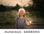 young girl with fourth of july...   Shutterstock . vector #660083443