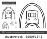 railway tunnel vector line icon ... | Shutterstock .eps vector #660091843