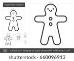 gingerbread man vector line... | Shutterstock .eps vector #660096913