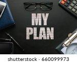 black chalkboard with business... | Shutterstock . vector #660099973