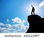 man on top of mountain.... | Shutterstock . vector #660121897