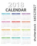calendar for 2018 starts sunday ... | Shutterstock .eps vector #660125827