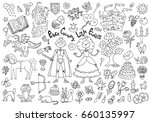 doodle set with royal prince... | Shutterstock .eps vector #660135997