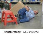 dangerous accident in warehouse ... | Shutterstock . vector #660140893
