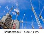 cranes on construction site  ... | Shutterstock . vector #660141493