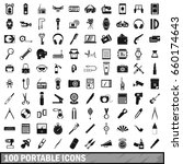100 portable icons set in... | Shutterstock . vector #660174643