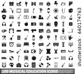 100 musical education icons set ... | Shutterstock . vector #660174763