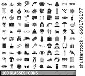 100 glasses icons set in simple ...   Shutterstock . vector #660176197