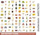100 festivity icons set in flat ... | Shutterstock . vector #660176293