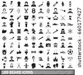 100 beard icons set in simple... | Shutterstock . vector #660177427