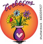 welcome card with flowers and... | Shutterstock .eps vector #660205927