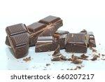 dark chocolate bar   broken in... | Shutterstock . vector #660207217
