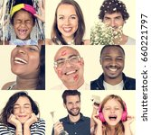 collage of people smiling... | Shutterstock . vector #660221797