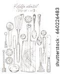 kitchen utensil. vintage set. | Shutterstock .eps vector #660226483