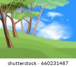 beautiful trees on hill scene... | Shutterstock .eps vector #660231487