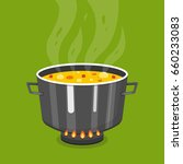 cooking soup in pan. pot on... | Shutterstock .eps vector #660233083