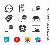 byod icons. notebook and... | Shutterstock .eps vector #660237673