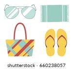 beach set  bag  flip flops ... | Shutterstock .eps vector #660238057