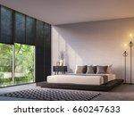 modern loft bedroom with nature ... | Shutterstock . vector #660247633