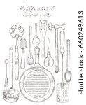 kitchen utensil. vintage set. | Shutterstock .eps vector #660249613