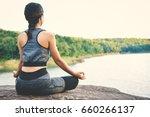 beautiful women yoga in nature  ...   Shutterstock . vector #660266137