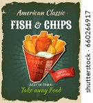 retro fast food fish and chips... | Shutterstock .eps vector #660266917