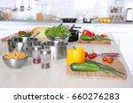 fresh vegetables and utensils... | Shutterstock . vector #660276283