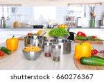 fresh vegetables and utensils... | Shutterstock . vector #660276367