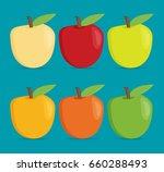 flat vector apple set | Shutterstock .eps vector #660288493