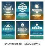 retro summer party design... | Shutterstock .eps vector #660288943