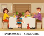 mother  father and children sit ... | Shutterstock .eps vector #660309883