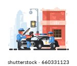 police station and patrol with... | Shutterstock .eps vector #660331123
