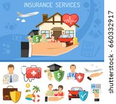 insurance services concept. man ... | Shutterstock .eps vector #660332917