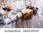 smores dessert ingredients on... | Shutterstock . vector #660334543