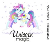 vector illustration with cute... | Shutterstock .eps vector #660334927