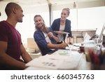 happy business colleagues... | Shutterstock . vector #660345763