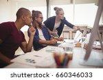 businesswoman explaining to... | Shutterstock . vector #660346033