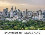lumpini park and bangkok city... | Shutterstock . vector #660367147