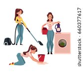 young woman  housewife doing...   Shutterstock .eps vector #660377617