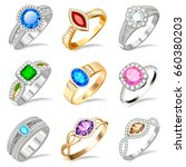 illustration ring set with... | Shutterstock .eps vector #660380203
