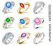 illustration ring set with... | Shutterstock .eps vector #660380203
