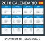 calendar 2018   spanish version ... | Shutterstock .eps vector #660380677