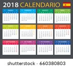 calendar 2018   spanish version ... | Shutterstock .eps vector #660380803