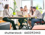 group of business people having ... | Shutterstock . vector #660392443