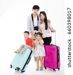 Happy Family With Suitcase...