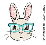 Stock vector cute rabbit sketch vector illustration children print on t shirt hand drawn bunny with glasses 660422827