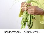 young muslim adult holding rice ... | Shutterstock . vector #660429943