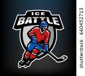 hockey player  logo  emblem on...   Shutterstock .eps vector #660452713