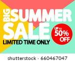big summer sale  up to 50... | Shutterstock .eps vector #660467047